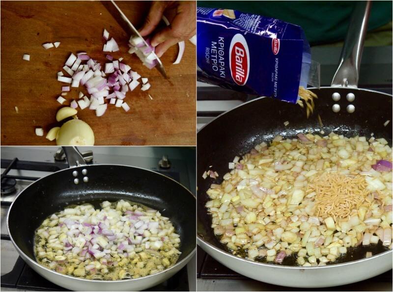 κριθαράκι με γαρίδες σκέτο και με μανιτάρια