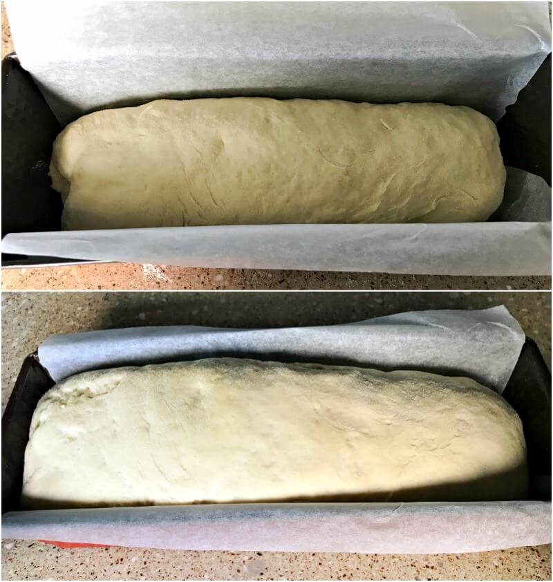 Κάνοντας ψωμί μόν με σιμιγδάλι - φούσκωμα στη φόρμα