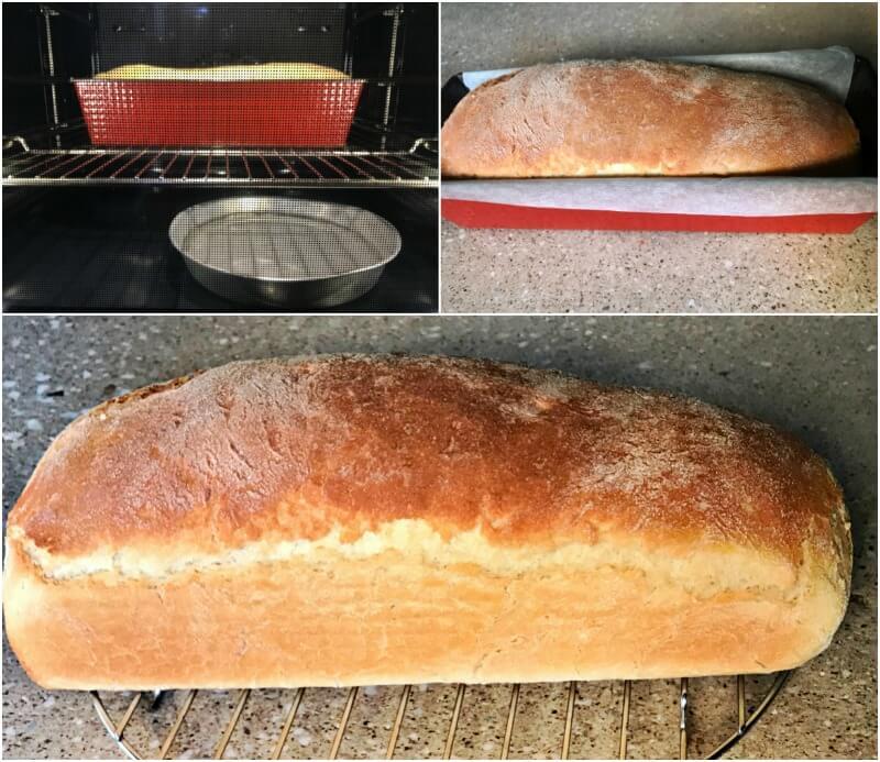 σιμιγδαλένιο ψωμί χωρίς άλλο αλεύρι - ψήσιμο