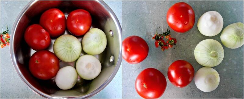 κάνοντας καλοκαιρινή σάλτσα ντομάτας με ολόκληρα τα υλικά