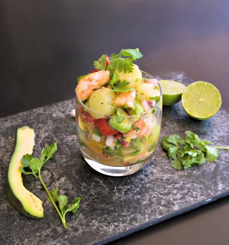 Σεβίτσε γαρίδες μεξικάνικο με αβοκάντο και πεπόνι