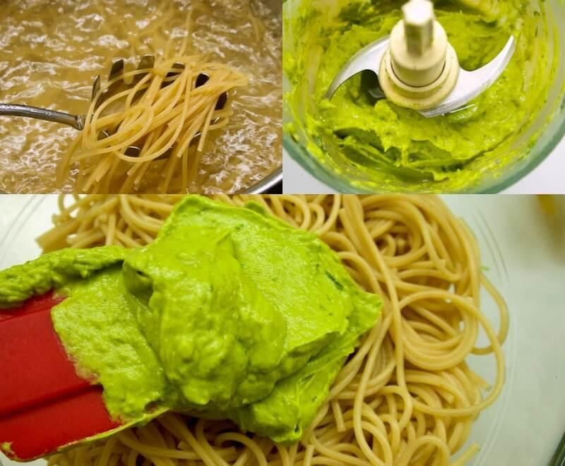πέστο αβοκάντο με βασιλικό - σάλτσα αβοκάντο