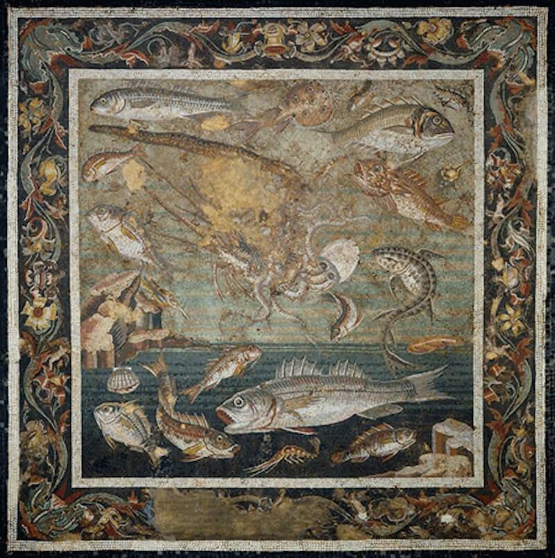 Ψαροφαγία - σφυρίδα από ρωμαϊκό ψηφιδωτό