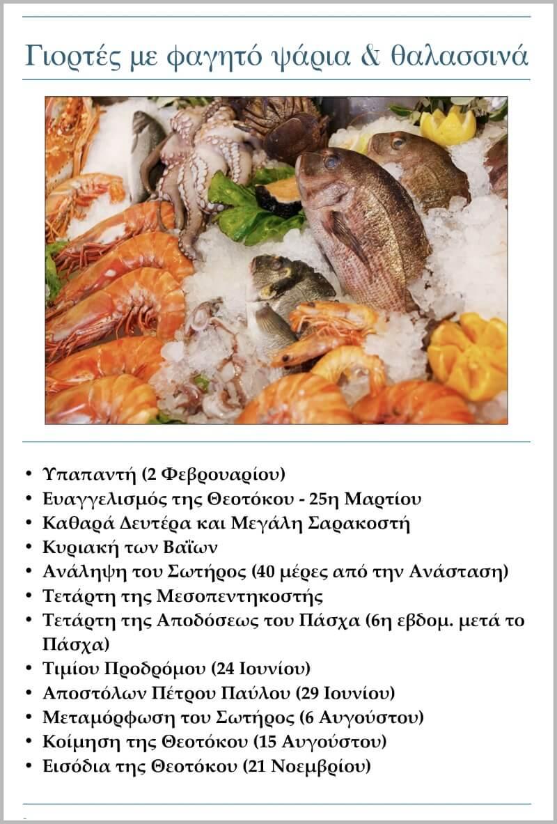 Κυριότερες γιορτές με φαγητό ψάρια και θαλασσινά
