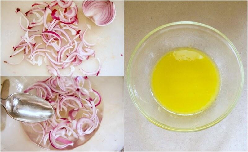 ετοιμάζοντας το κρεμμύδι και το λαδολέμονο για μακαρόνια με μύδια