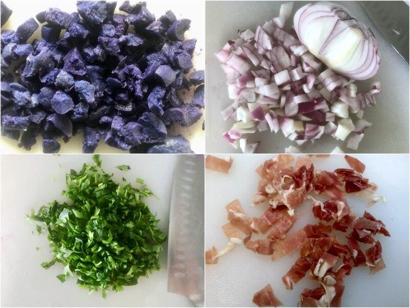 γέμιση για τα πιτάκια: μπλε πατάτες, κρεμμύδι, μαϊντανός, προσούτο