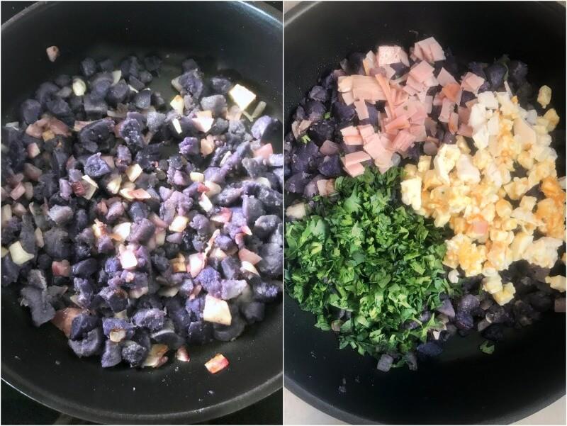 Ετοιμάζοντας την γέμιση για τα πιτάκια: μπλε πατάτες, κρεμμύδι, μαϊντανός, προσούτο, κατσικίσιο τυρί
