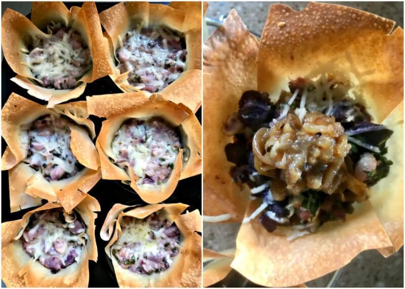 πιτάκια με κατσικίσιο τυρί και μαρμελάδα από καραμελωμένα κρεμμύδια