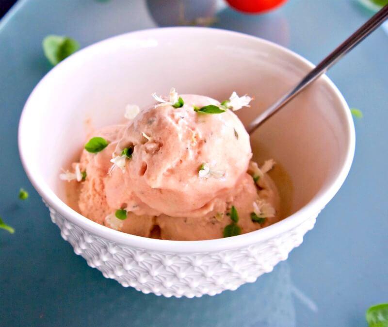 παγωτό ντομάτα με βασιλικό με αυγά ή χωρίς
