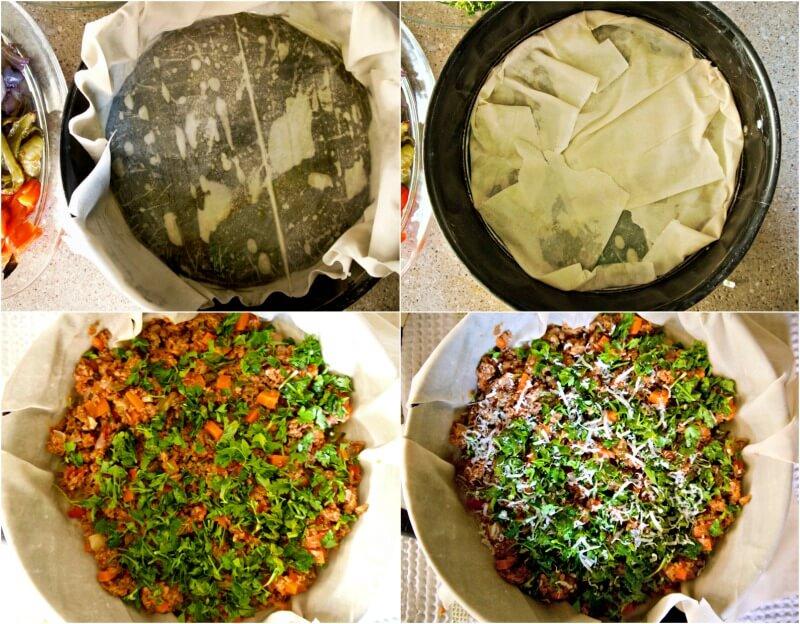 Κάνοντας την πίτα με κιμά και λαχανικά
