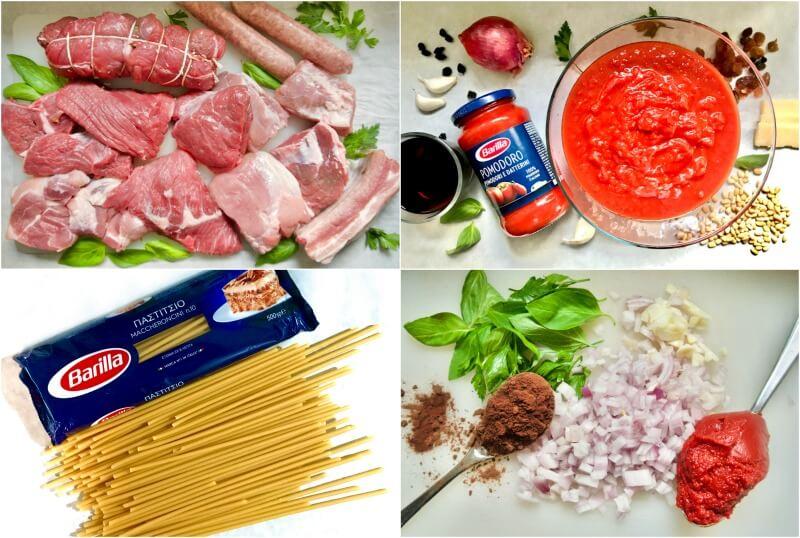 μακαρόνια με κρέας ραγού, αυθεντικό ναπολιτάνικο - όλα τα υλικά - μοσχάρι ραγού - χοιρινό ραγού - ιταλικό ραγού