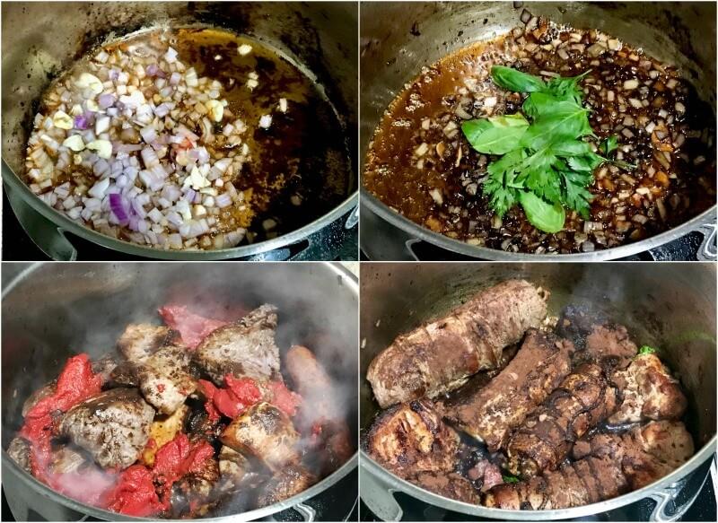 προετοιμασία σάλτσας κρέατος για ναπολιτάνικο ραγού με μακαρόνια