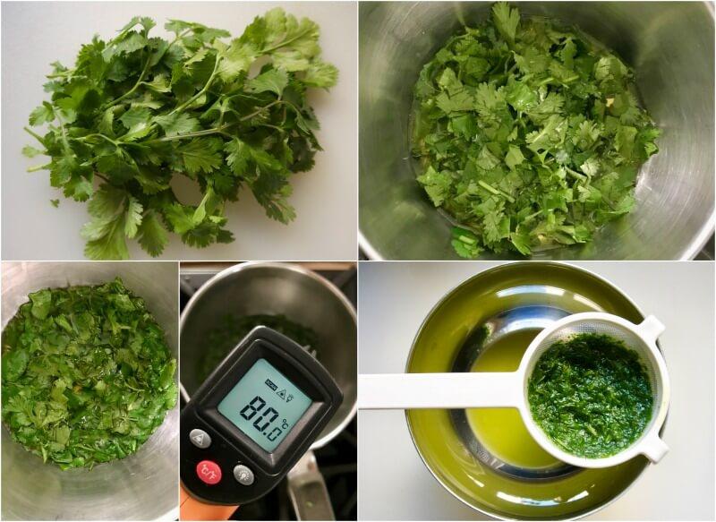 ελαιόλαδο αρωματισμένο με κόλιανδρο - λαδι κολιανδρου συνταγη - λαδι μυρωδικων -
