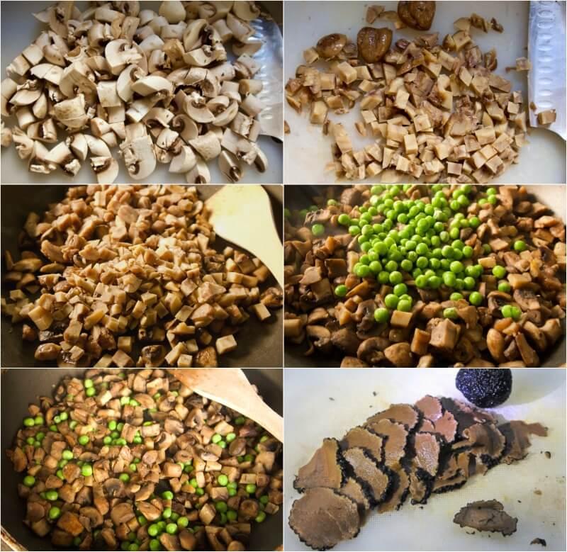 Κάστανα, μανιτάρια, αρακάς και τρούφες γέμιση σε Timballo λαζάνια με σπανάκι