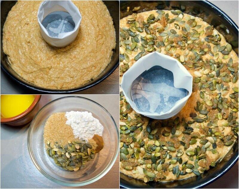 Εύκολο κέικ κολοκύθας (χωρίς μίξερ): παρασκευή βήμα-βήμα - επικάλυψη με κολοκυθόσπορους