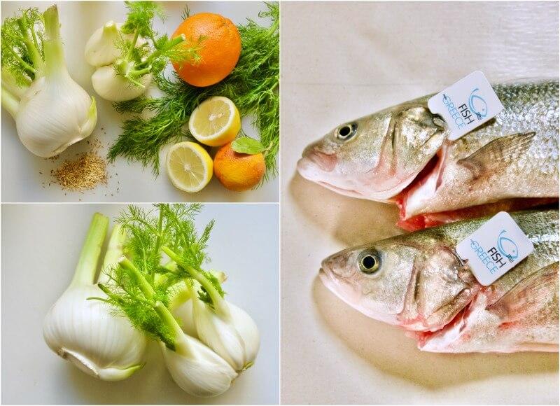 Λαβράκι με φινόκιο και πορτοκάλι στο φούρνo - λαβράκι ή τσιπούρα με μαραθόριζα - λαβράκι στο φούρνο με λεμόνι και μάραθο - Fish from Greece