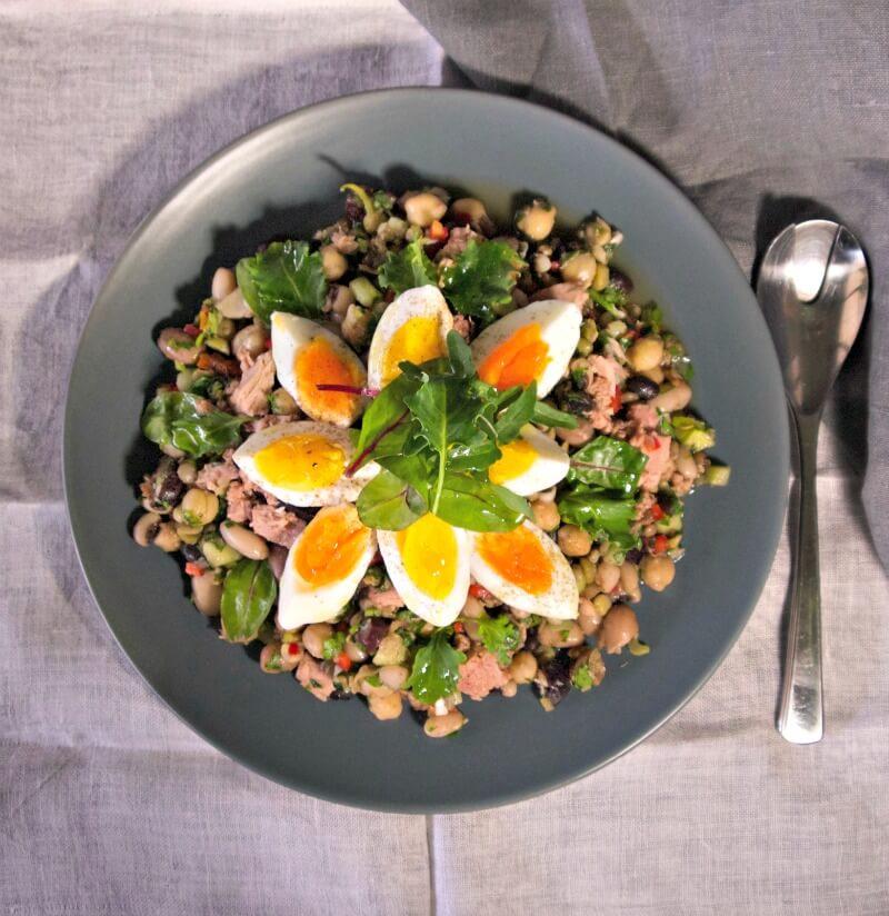 Οσπριάδα με λαχανικά - ανάμεικτα όσπρια σαλάτα - σαλάτα με όσπρια, αυγά και τόνο - τονοσαλάτα με διάφορα όσπρια - σαλάτα με διάφορα φασόλια