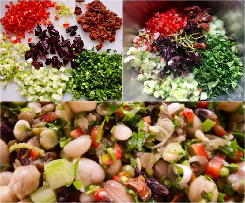 Σαλάτα με διάφορα όσπρια και λαχανικά - ανάμεικτα όσπρια σαλάτα - μείγμα οσπρίων συνταγή - πολυσπόρια σαλάτα