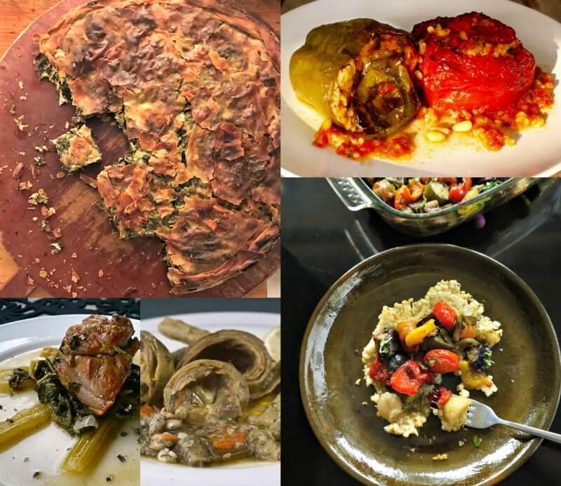 Μεσογειακή διατροφή, ελληνικά φαγητά: σπανακόπιτα, κατσικάκι φρικασέ, γεμιστά, αγκινάρες, μπριάμ