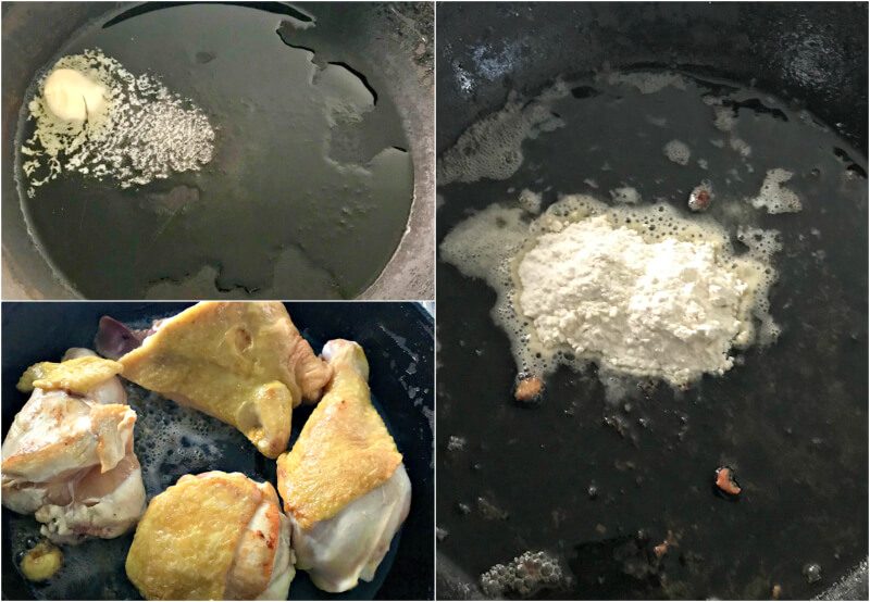 Σοτάρισμα κοτόπουλου και δέσιμο άσπρης σάλτσας λεμονιού