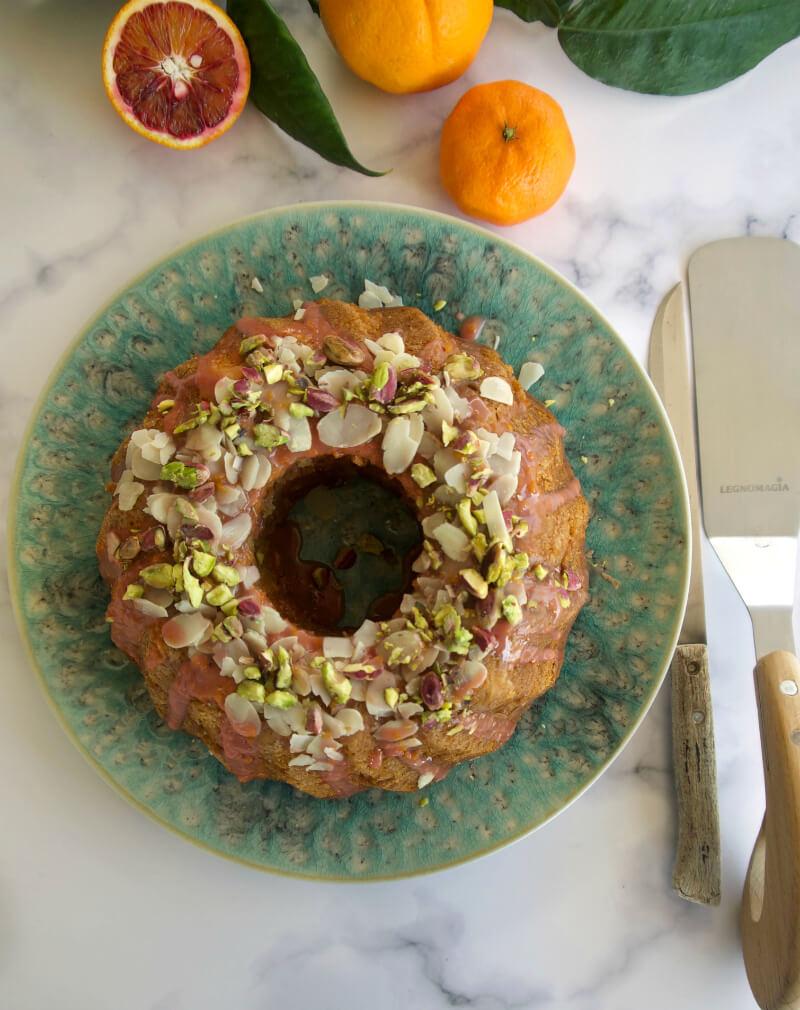 Πολύ εύκολο κέικ πορτοκάλι, σανγκουίνι, μανταρίνι νηστίσιμο/ vegan με γλάσο, χωρίς μίξερ