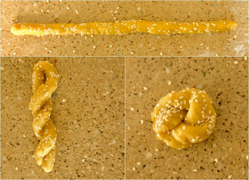 πλάθοντας κουλουράκια με κανέλα και ελαιόλαδο, το σχήμα