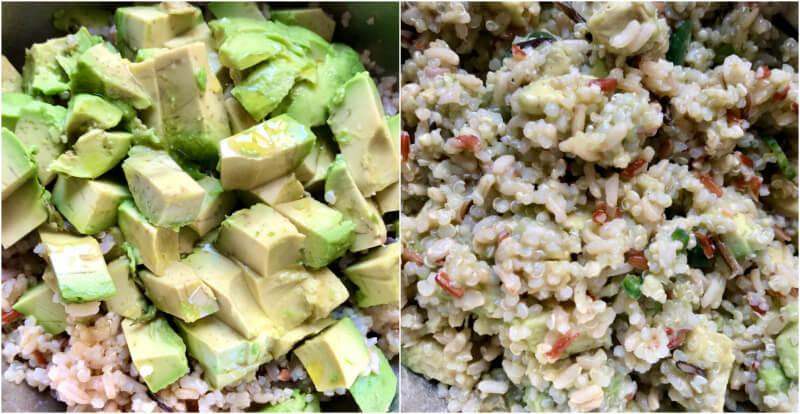 Σαλάτα κινόα με ακατέργαστο ρύζι, λαχανικά και αβοκάντο