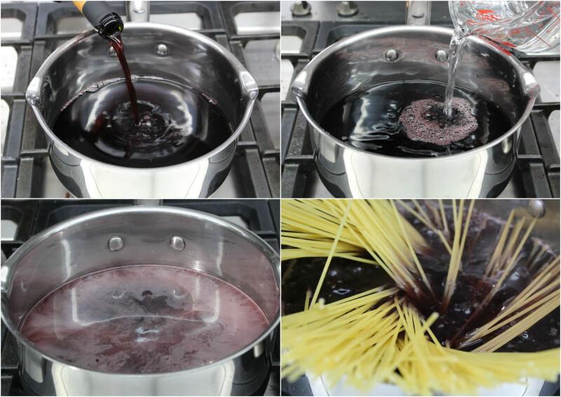 Μακαρόνια που βράζουν σε κόκκινο κρασί