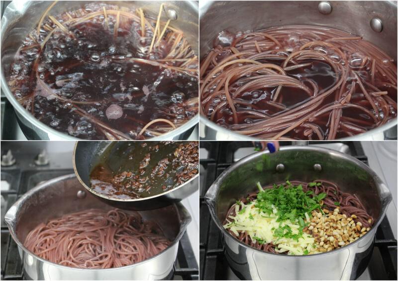 Μακαρόνια που βράζουν σε κόκκινο κρασί με παρμεζάνα, σκόρδο, μαϊντανό και κουκουνάρι