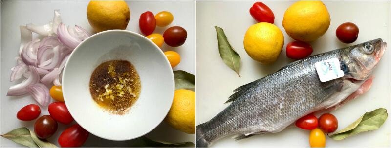 Ολόκληρο λαβράκι Fish from Greece με ντοματίνια, κρεμμύδιδια και δάφνη, με σάλτσα ταχίνι με λεμόνι