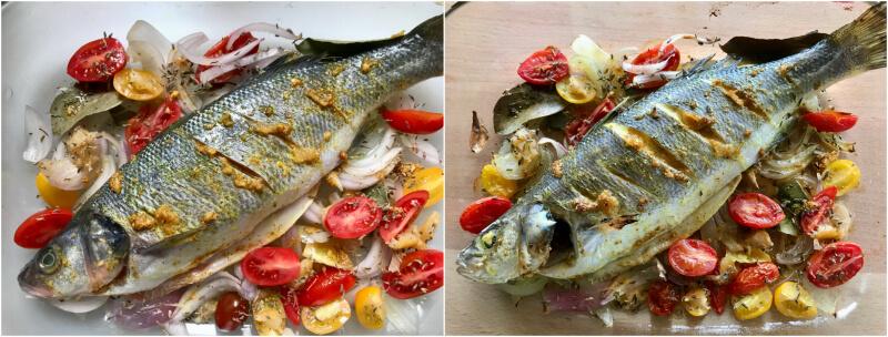 Ψάρι ψητό στο φούρνο με ντοματίνια, μυρωδικά, σάλτσα ταχίνι