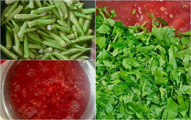 Λαδερές μπάμιες μαγείρεμα βήμα βήμα: ντομάτα, μαϊντανός