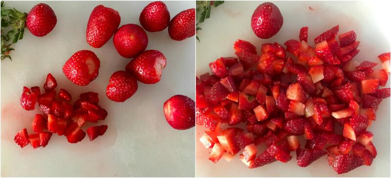 Πως κάνουμε σιρόπι φράουλας βήμα βήμα: ψιλοκόβουμε τις φράουλες