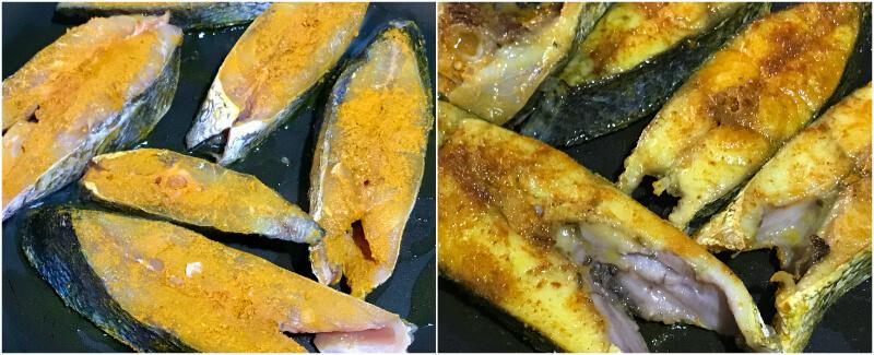 Ψάρι με κάρι, σοτάρισμα