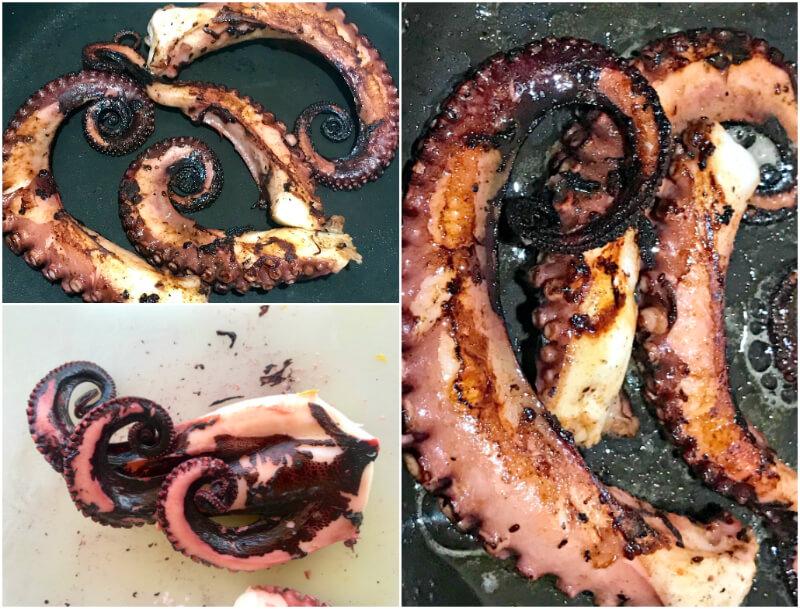 Βραστό χταπόδι με πάπρικα στο τηγάνι