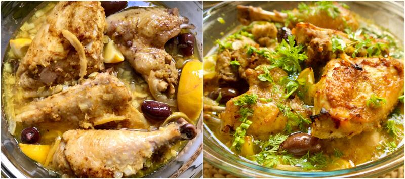 Κοτόπουλο με λεμόνια και ελιές μαροκινό, με κουρκουμά και μπαχαρικά