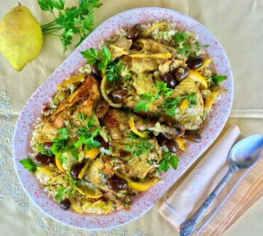Κοτόπουλο με λεμόνια και ελιές μαροκινό