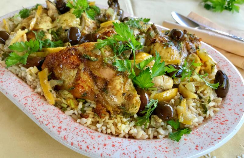 Κοτόπουλο με λεμόνια και ελιές μαροκινό από την αυθεντική, μαροκινή κουζίνααπό