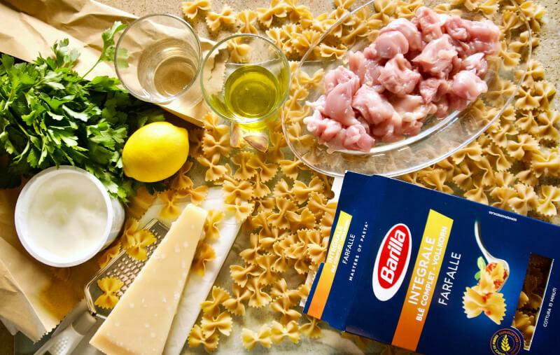 farfalle Integrale, Greek yoghurt, chicken, olive oil, lemon, parmesan cheese, parsley