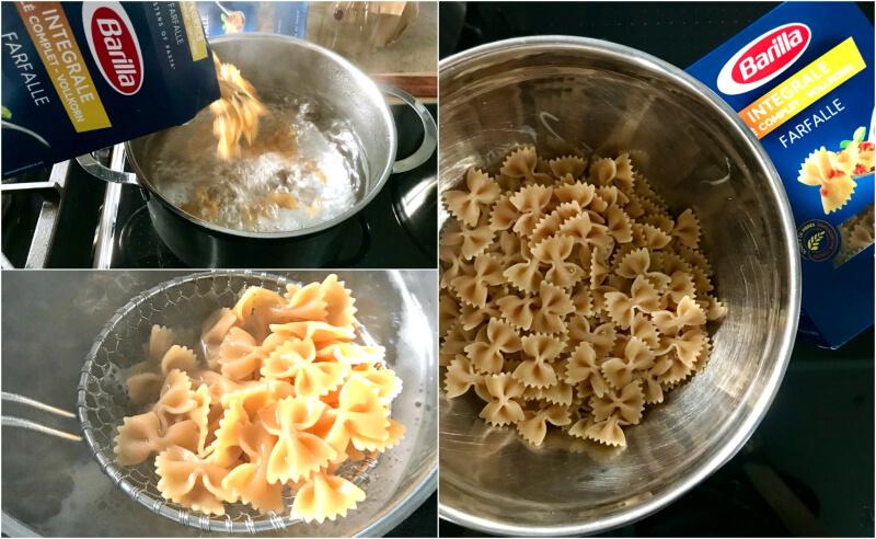 boiling the farfalle pasta al dente