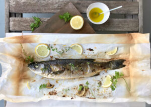 Fish en papillote with oregano and lemon in 25 min.