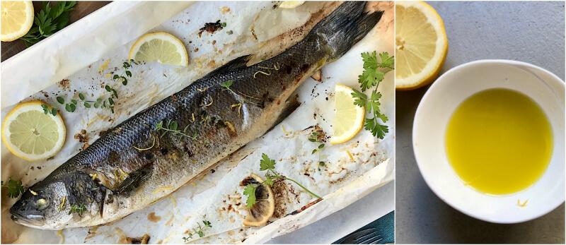 Sea bass en papillote with oregano, lemon slices and Greek ladolemono, the olive oil and lemon sauce