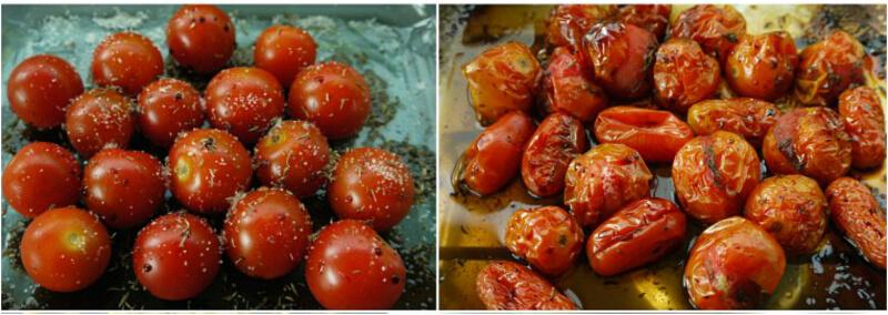 καραμελωμένα ντοματίνια στο φούρνο με ελαιόλαδο και ρίγανη
