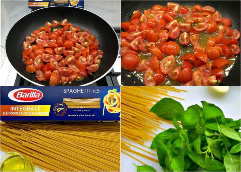 Σπαγγέτι ολικής ζεστά με σάλτσα ντομάτας, μοτσαρέλα, βασιλικό