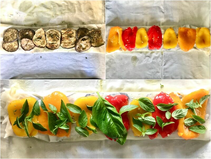 Healthy Mediterranean vegetable strudel with basil and herbs, light and vegan friendly