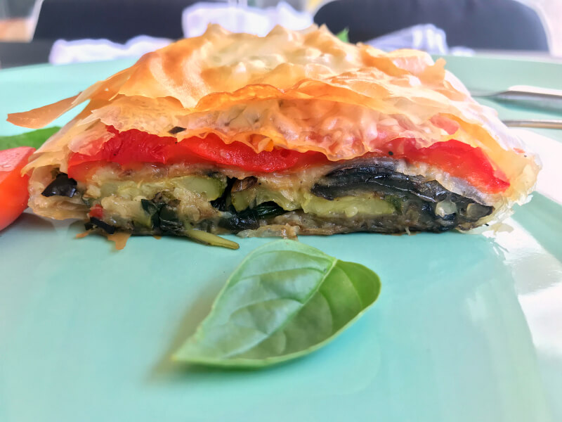 Healthy Mediterranean roasted vegetable strudel with basil and herbs, light and vegan friendly