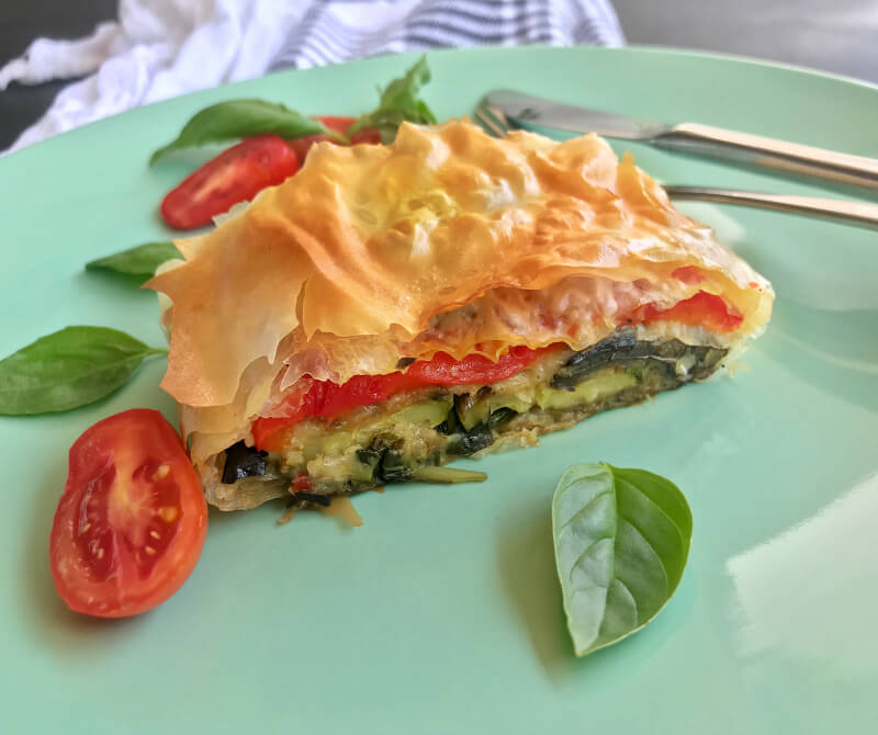 Roasted vegetable strudel with basil and herbs