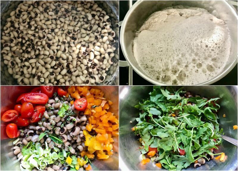 Μαυρομάτικα σαλάτα με ρόκα, ντοματίνια, πιπεριές με ντρέσινγκ λεμονιού
