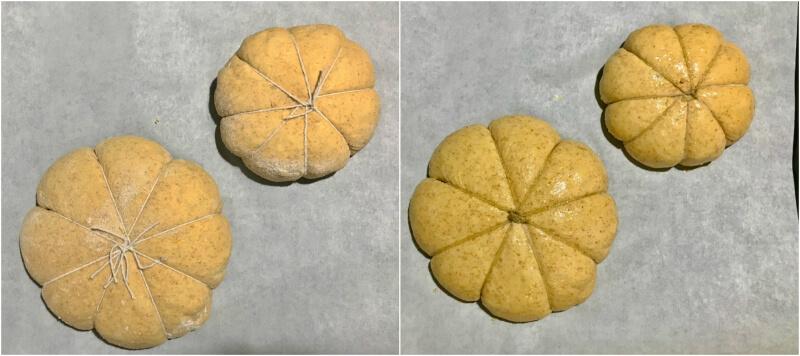Ψωμιά δεμένα και αλειμμένα με ελαιόλαδο πριν το ψήσιμο