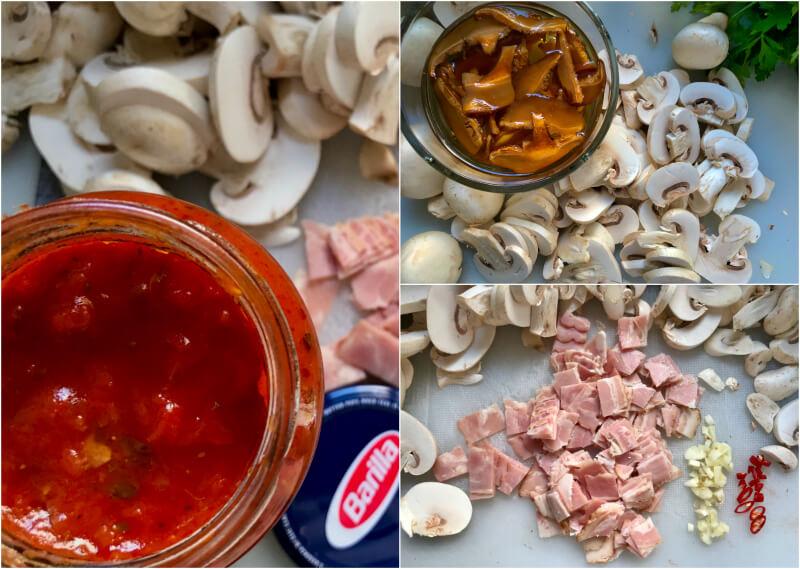 Μανιτάρια, σάλτσα Toscana, μπέικον, σκόρδο, καυτερή πιπεριά